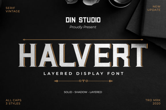 Print on Demand: Halvert Display Font By Din Studio