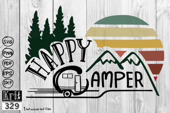 Happy Camper Sunset Graphic Crafts By Krit-Studio329