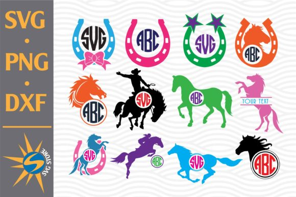 Print on Demand: Horse Monogram, Horse Shoe Monogram Graphic Crafts By SVGStoreShop