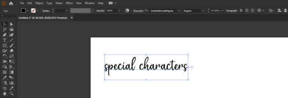How to use special characters on Illustrator