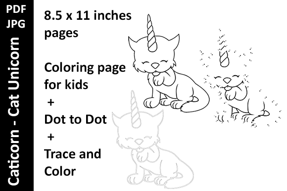 Caticorn -Cat Unicorn - 3 Activity Pages Graphic KDP Interiors By Oxyp