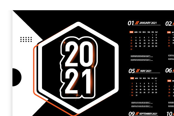 Print on Demand: One Page Desk Calendar 2021 Template Graphic Print Templates By Muhammad Rizky Klinsman