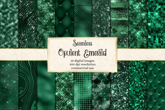 Print on Demand: Opulent Emerald Textures Graphic Textures By Digital Curio