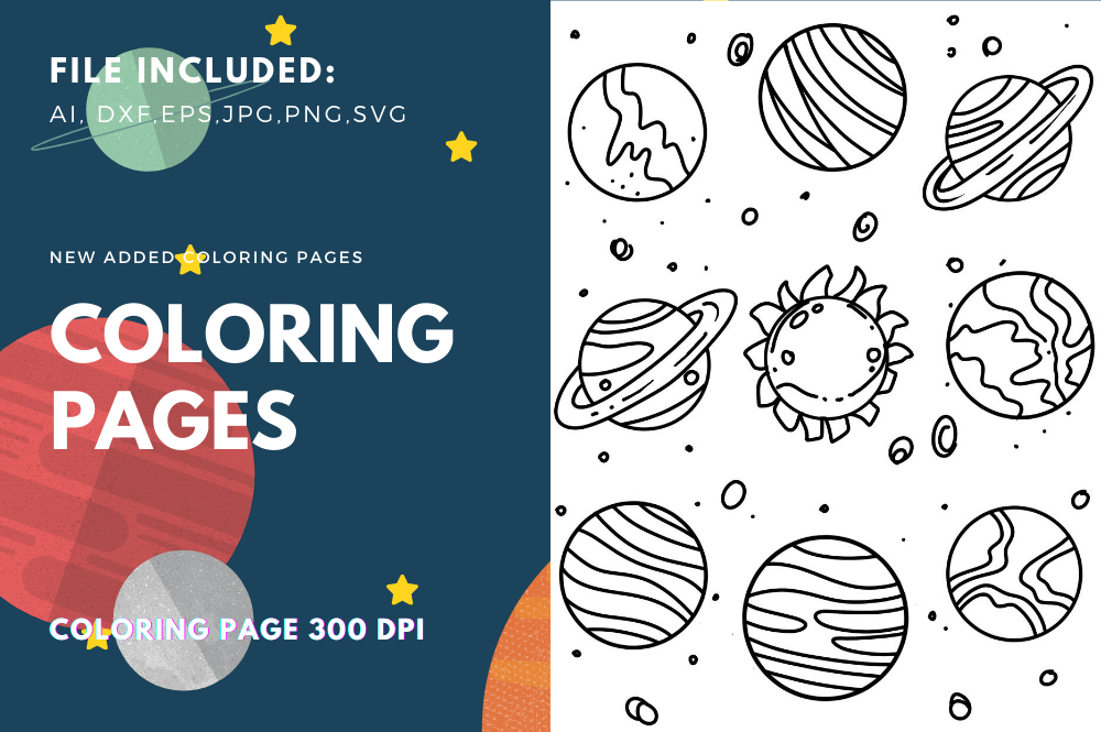 Planets Space Coloring Pages Graphic By Stanosh Creative Fabrica
