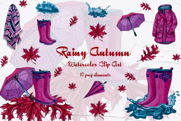 Rainy Autumn Watercolor Clip Art Graphic Illustrations By BarvArt