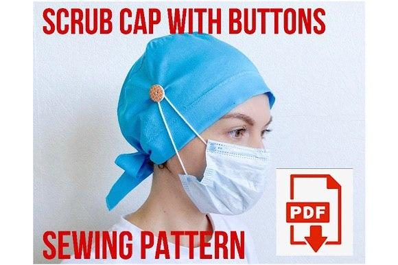 Scrub Cap Style #6 with Buttons Graphic