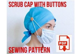 Scrub Cap Style #6 with Buttons Graphic Sewing Patterns By Cotton Miracle Studio