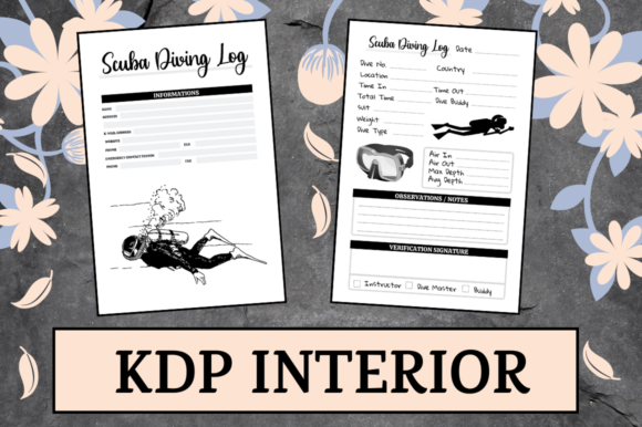 Print on Demand: Scuba Diving Log | KDP Interior Graphic KDP Interiors By KDP Mastermind