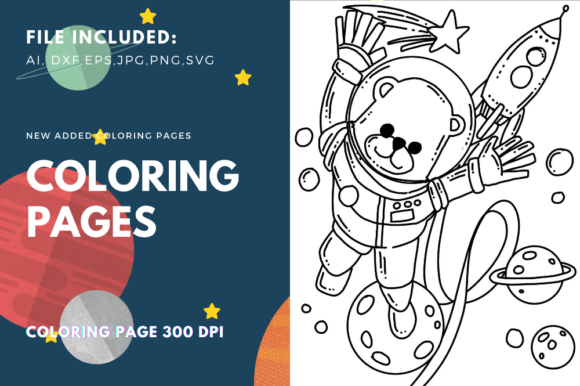 Print on Demand: Space Bear Coloring Page Graphic Coloring Pages & Books Kids By stanosh