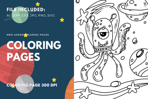 Print on Demand: Space Cat Astronauts Coloring Page Graphic Coloring Pages & Books Kids By stanosh