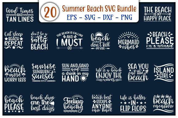 Print on Demand: Summer Beach Quotes Design Bundle Graphic Print Templates By GraphicsBooth