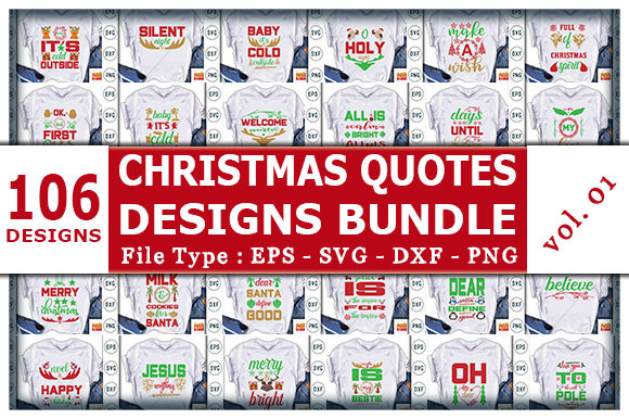 Print on Demand: The Huge Christmas Quotes Designs Bundle Graphic Print Templates By CraftStudio