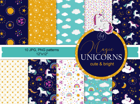 Unicorn Seamless Patterns Graphic Patterns By lena-dorosh
