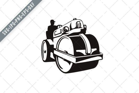 Print on Demand: Vintage Road Roller Roller-Compactor Graphic Illustrations By patrimonio