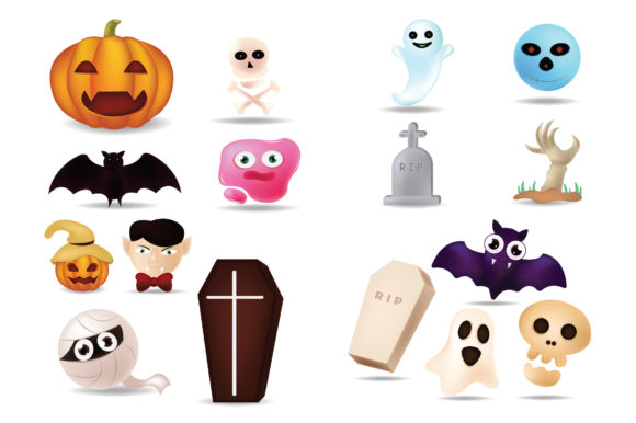 Print on Demand: Emoji Cute Cartoon for Halloween Icon Graphic Illustrations By iop_micro