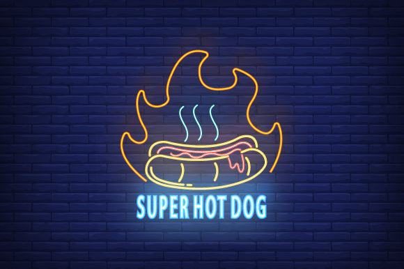 Print on Demand: Neon Logo Hot Dog Template Street Food Graphic Logos By iop_micro