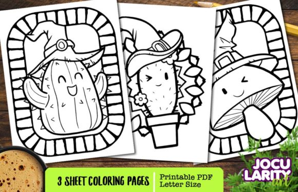 3 Halloweent Plant Coloring Pages Graphic Coloring Pages & Books Kids By JocularityArt