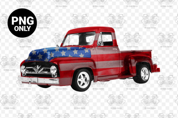Print on Demand: American Flag Vintage Truck Sublimation Graphic Print Templates By CraftsCreateShop