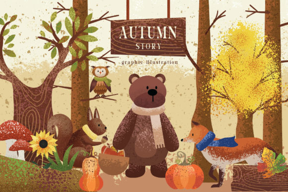 Print on Demand: Autumn Story Graphic Illustrations By Caoca Studio