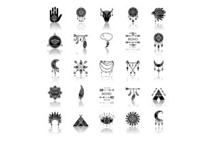 Print on Demand: Boho Style Drop Shadow Black Glyph Icons Graphic Icons By bsd studio