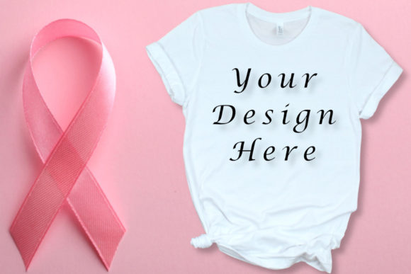 Breast Cancer Mockups, White T-shirt Graphic Product Mockups By MockupsByGaby