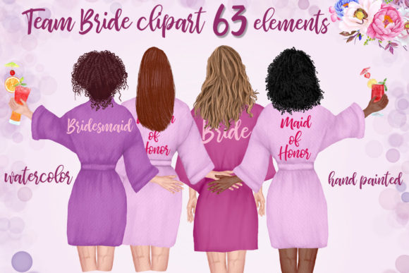 Bridesmaid Robes Clipart Team Bride   Grafik Illustrationen von LeCoqDesign