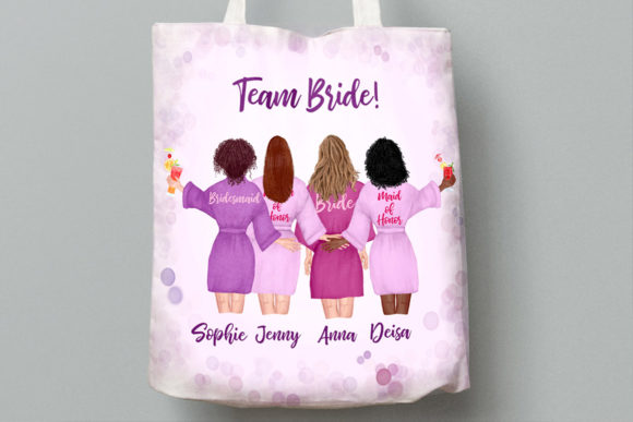Bridesmaid Robes Clipart Team Bride   Graphic Downloadable Digital File