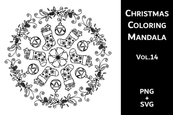Print on Demand: Christmas Coloring Mandala Vol.14 Graphic Coloring Pages & Books Adults By Fleur de Tango