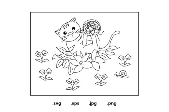 Print on Demand: Cat Design - Coloring Page for Kid Graphic Coloring Pages & Books Kids By doridodesign