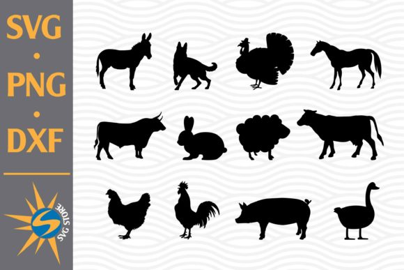 Print on Demand: Farm Animal Silhouette Graphic Crafts By SVGStoreShop