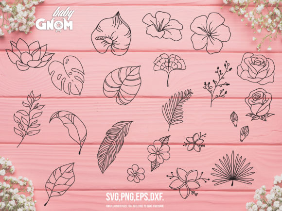 Flowers and Leaves Bundle Graphic Crafts By babyGnom