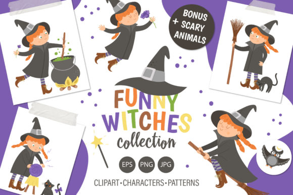 Funny Witches Collection Graphic Illustrations By lexiclaus