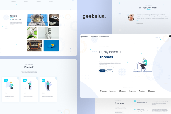 Geeknius - Creative CV/Resume UI Kit Graphic Landing Page Templates By themesmile