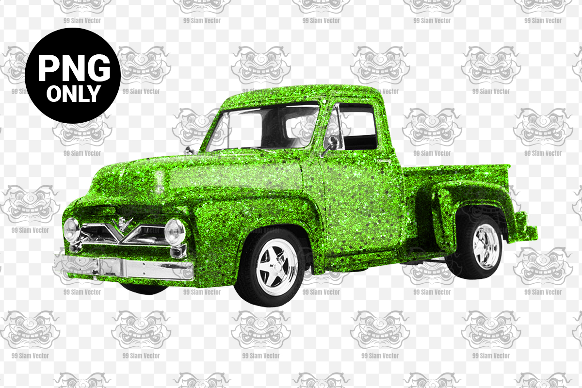Green Glitter Vintage Truck Sublimation Graphic By Craftscreateshop Creative Fabrica