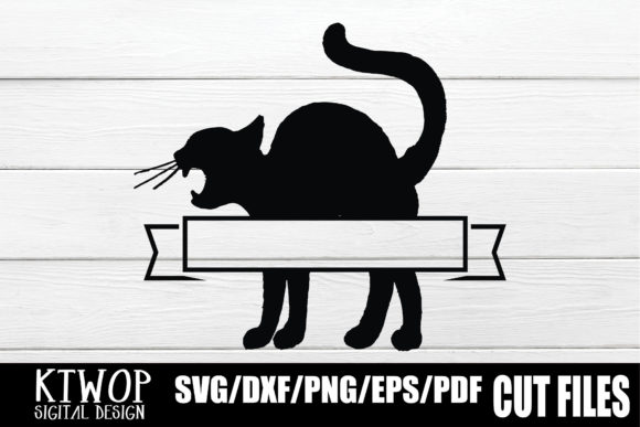Print on Demand: Halloween Label Black Cat Graphic Crafts By KtwoP