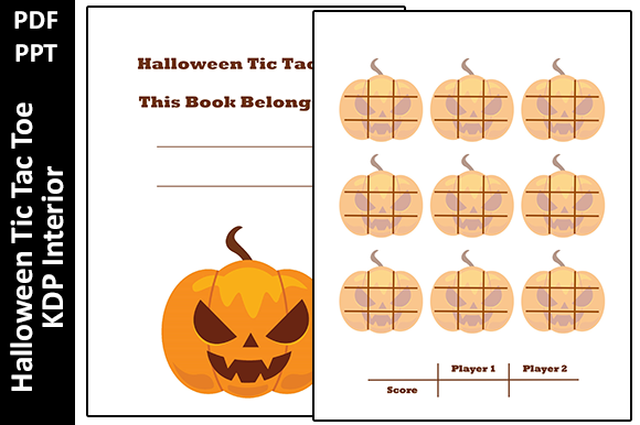 Halloween Tic Tac Toe KDP Activity Book Graphic KDP Interiors By Oxyp
