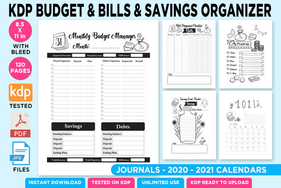Print on Demand: KDP Savings Budget & Bills Planner Gráfico Páginas KDP Por Queen Dreams Store