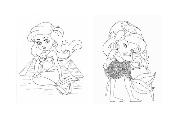 Mermaid Coloring Pack | Part 2 Graphic Coloring Pages & Books Kids By POD