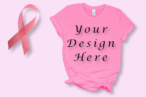 Mockup Breast Cancer Pink T-Shirt Graphic Product Mockups By MockupsByGaby