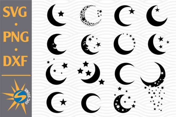 Print on Demand: Moon Bundle Silhouettes Graphic Crafts By SVGStoreShop