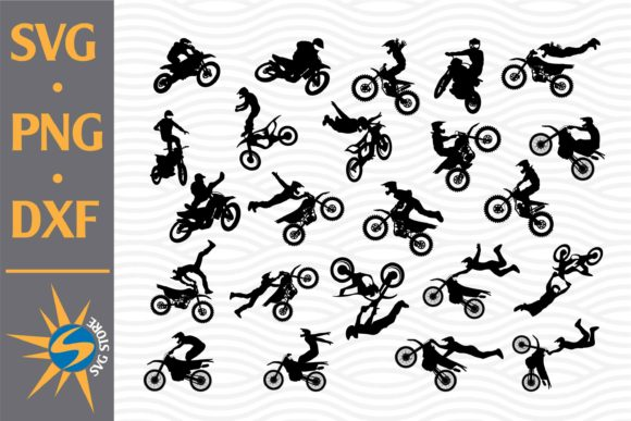 Print on Demand: Motoscross Silhouette Bundle Graphic Crafts By SVGStoreShop