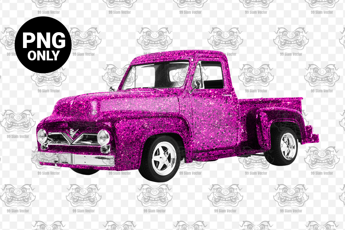 Pink Glitter Vintage Truck Sublimation Graphic By Craftscreateshop Creative Fabrica