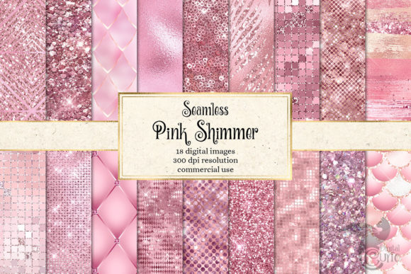 Print on Demand: Pink Shimmer Digital Paper Graphic Textures By Digital Curio