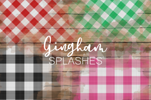 Print on Demand: Pretty Festive Fabric Gingham Splashes Graphic Patterns By Prawny