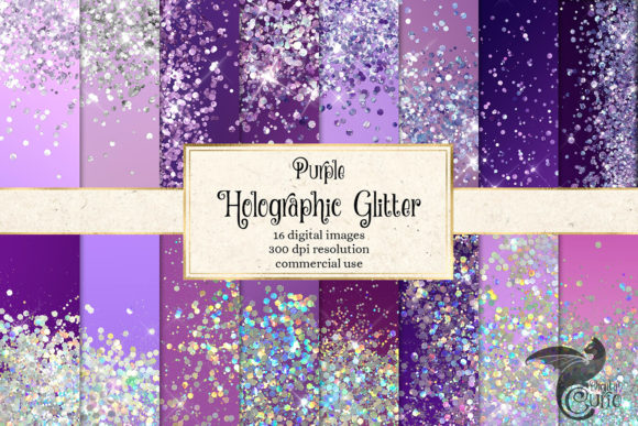 Print on Demand: Purple Holographic Glitter Backgrounds Graphic Textures By Digital Curio