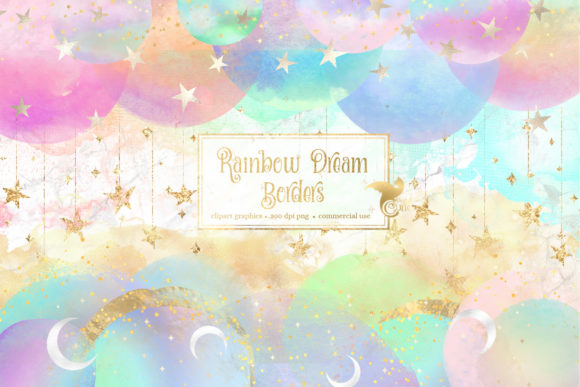 Print on Demand: Rainbow Dream Borders Clipart Graphic Illustrations By Digital Curio