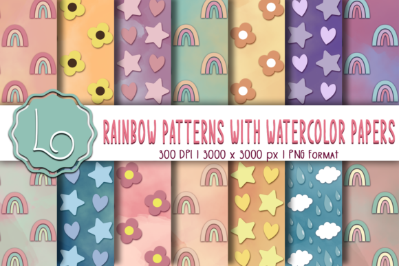Print on Demand: Rainbow Patterns with Watercolor Papers Graphic Patterns By La Oliveira
