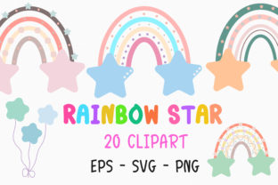 Print on Demand: Rainbow Star Clipart Graphic Illustrations By PearlyDaisy