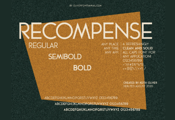 Print on Demand: Recompense Sans Serif Font By OLIVERFONTS