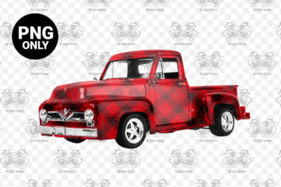 Print on Demand: Red Plaid Vintage Truck Sublimation Graphic Print Templates By CraftsCreateShop